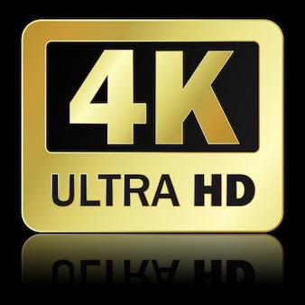 Ultra hd zeichen 4k mit reflexion auf schwarzem hintergrund