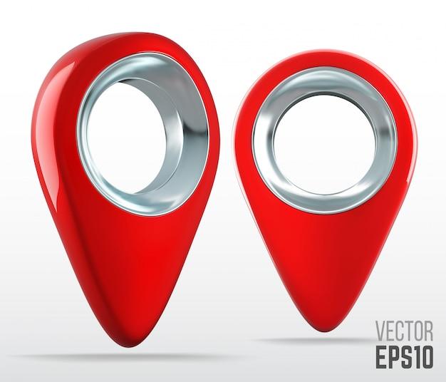 Ultra realistisches rotes 3d-farbkarten-pinzeigersymbol. illustration