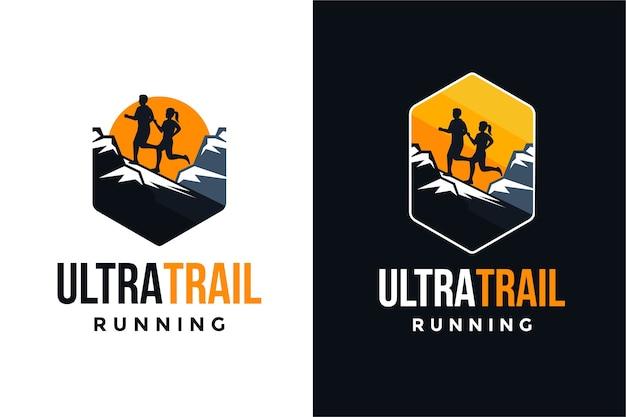 Ultra trail running logo set