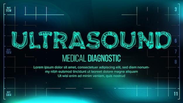 Ultraschall-banner-vektor. medizinischer hintergrund. transparenter röntgenstrahl-text mit den knochen. röntgen 3d scan. medizinische gesundheit typografie. futuristische illustration