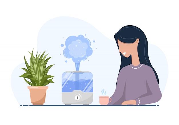 Ultraschall-luftbefeuchter mit zimmerpflanzen. frau genießt die frische feuchte luft zu hause. haushaltsgeräte für einen gesunden lebensstil. moderne vektorillustration im flachen karikaturstil.