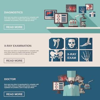 Ultraschall und röntgen banner set
