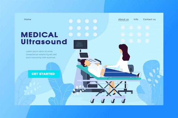 Ultraschalluntersuchung in der medizinischen klinik, schwangerschaftsgesundheitswebsite-vektorillustration