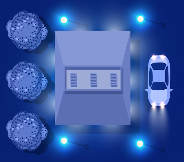 Ultraviolette haus- und autodachansicht