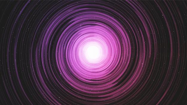 Ultraviolettes schwarzes loch auf galaxienhintergrund mit milchstraßenspirale