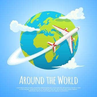 Um die welt fliegen. reise in die welt. ausflug. tourismus- und ferienkonzept