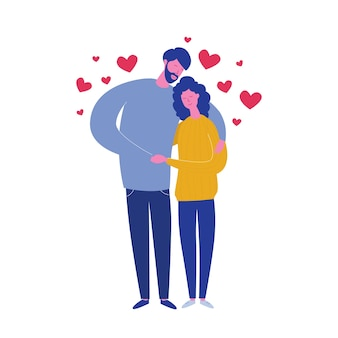 Umarmen freund und freundin lokalisiert auf weißem hintergrund mit herzen. valentinstagskarte der liebenden. nettes junges romantisches paar im liebeskuscheln. im flachen cartoon-stil