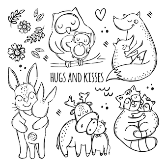 Umarmungen und küsse. nette tiere, die ihre kinder umarmen. monochrome handgezeichnete clipart-illustration der elternbeziehung