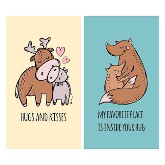 Umarmungen und küsse väter hirsch und fuchs umarmen ihre kinder. hand gezeichnete karikatur tiere illustration set