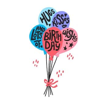Umarmungsküsse und viele geburtstagswünsche zitieren in luftballons. handgezeichnete vektorbeschriftung für kartendesign