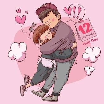 Umarmungstag super süße liebe fröhlich romantisch valentinstag paar aus geschenk hand gezeichnete vollfarbillustration