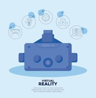 Umfang und virtuelle realität bezogene symbole