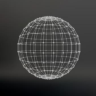Umfang von linien und punkten. kugel der mit punkten verbundenen linien. molekülgitter. das strukturelle gitter von polygonen. schwarzer hintergrund. die anlage befindet sich auf einem schwarzen studiohintergrund.