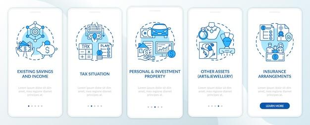 Umfassende wohlstandskontrolle auf dem bildschirm der mobilen app-seite mit konzepten. walkthrough zu einsparungen und assets 5 schritte grafische anweisungen.