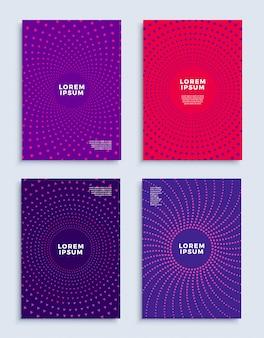 Umfasst moderne abstrakte designvorlagen mit futuristischen, minimalen geometrischen kompositionen