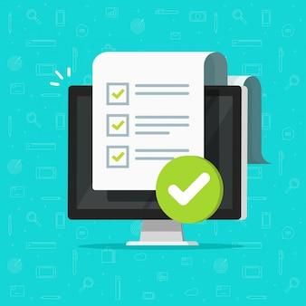 Umfrage-checklistenformular oder vollständige aufgabenliste auf computer-pc-illustrations-cartoon