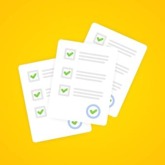 Umfrage- oder prüfungsformular-papierblattstapel mit antwort-checklisten-quiz und auswertung der erfolgsergebnisse. bildungstestidee, fragebogen, dokumentvektorillustration. eps 10