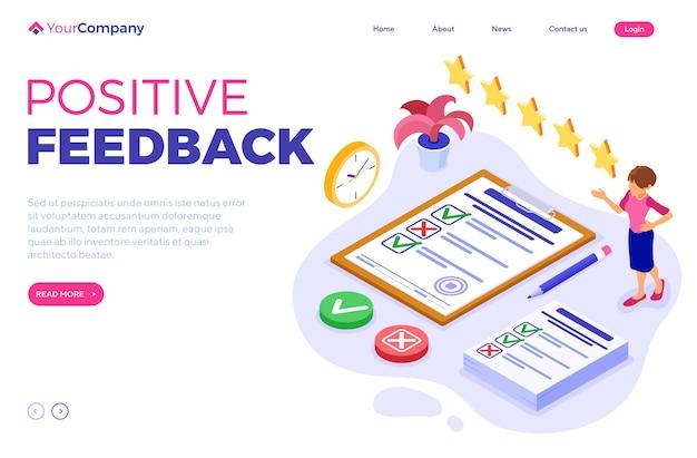 Umfrage positives feedback oder testbanner mit isometrischem charakter. feedback online. fragebogenformular in der zwischenablage. umfrageforschung. zielseitenvorlage isometrisch