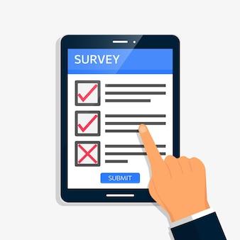 Umfrageformular online-vektor-illustration. füllen sie den fragebogen aus, bewerten sie, überprüfen sie das konzept des tablet-bildschirms.