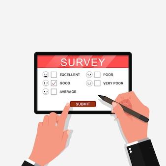 Umfrageformular online-vektor-illustration hand hält stift tablette und füllen fragebogen online