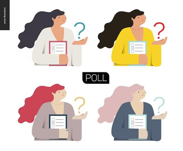 Umfragesymbol in vier farben.