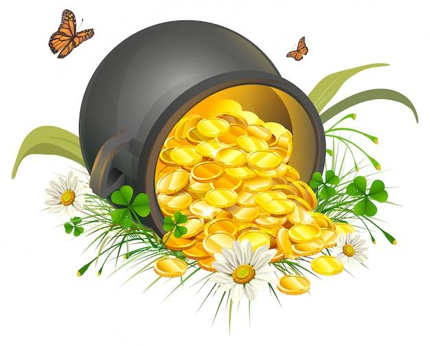 Umgedrehte goldschatzmünzen. kessel aus gold
