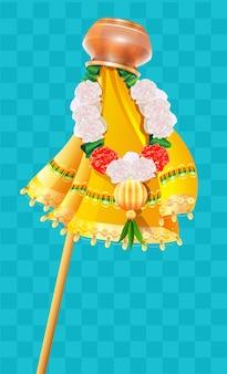 Umgekehrter topf auf stock und blumenperlen girlande ugadi feiertagssymbol gudi padwa.