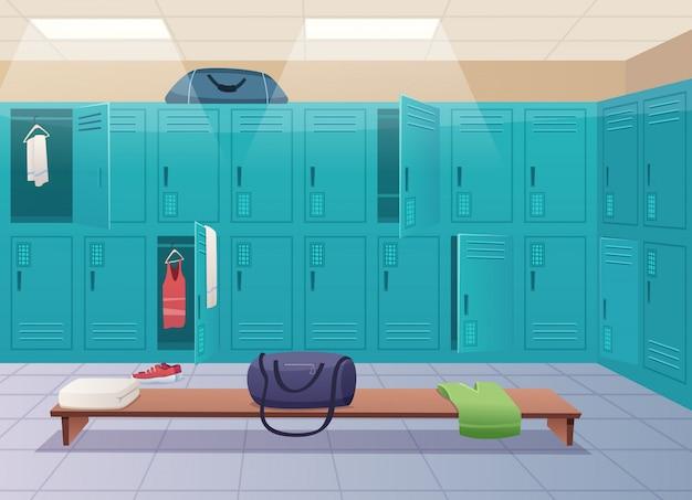 Umkleidekabine der schule. college gym sport schließfächer umkleideraum innenraum klassenzimmer mit ausrüstung und korridor cartoon hintergrund