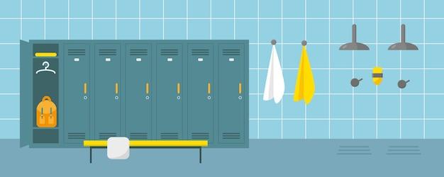 Umkleideraum und duschbereich im sportzentrum oder schwimmbad. ankleideplatz im fitnessclub oder fitnessstudio.