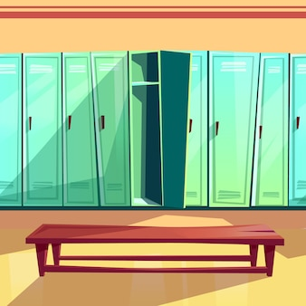 Umkleideraumillustration der nahtlosen turnhallen- oder schulsportumkleidekabine.
