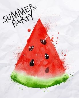 Ummer party als scheiben wassermelone und samen geht party