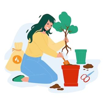 Umpflanzen blätter beruf frau im garten vector. junges mädchen, das im garten arbeitet und blätter im topf umpflanzt. charakter lady care natürliche wachsende baum-pflanze, hauspflanzen-flache cartoon-illustration