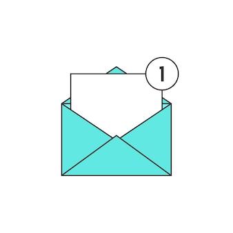 Umreißen sie das grüne e-mail-benachrichtigungssymbol. konzept der benutzeroberfläche, sms, spam, einkaufen, benachrichtigen, chat, checkliste, e-commerce. isoliert auf weißem hintergrund. lineare stiltrend moderne logo-design-vektor-illustration