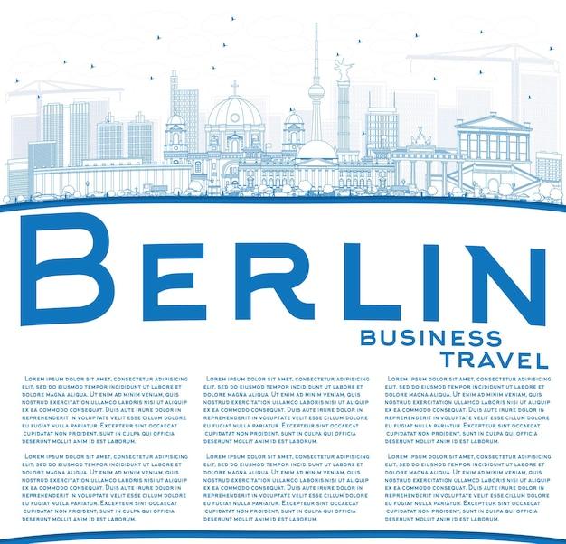 Umreißen sie die berliner skyline mit blauen gebäuden und textfreiraum. vektor-illustration. geschäftsreise- und tourismuskonzept mit historischer architektur. bild für präsentationsbanner-plakat und website.