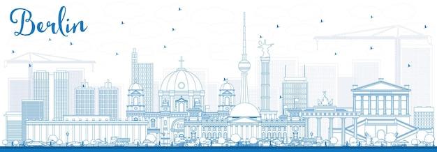 Umreißen sie die berliner skyline mit blauen gebäuden. vektor-illustration. geschäftsreise- und tourismuskonzept mit historischer architektur. bild für präsentationsbanner-plakat und website.