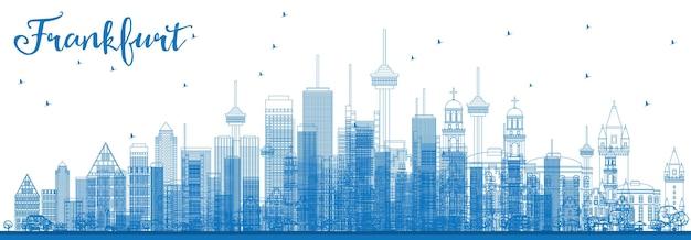 Umreißen sie die frankfurter skyline mit blauen gebäuden. vektor-illustration. geschäftsreise- und tourismuskonzept mit modernen gebäuden. bild für präsentationsbanner-plakat und website.