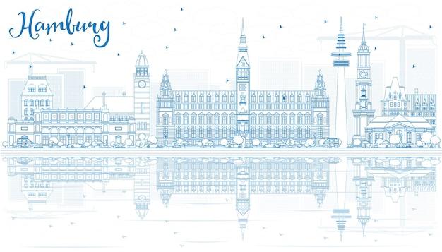 Umreißen sie die hamburger skyline mit blauen gebäuden und reflexionen. vektor-illustration. geschäftsreise- und tourismuskonzept mit historischer architektur. bild für präsentationsbanner-plakat und website.