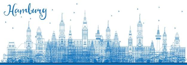 Umreißen sie die hamburger skyline mit blauen gebäuden. vektor-illustration. geschäftsreise- und tourismuskonzept mit historischer architektur. bild für präsentationsbanner-plakat und website.