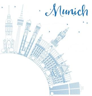 Umreißen sie die münchner skyline mit blauen gebäuden und textfreiraum. vektor-illustration. geschäftsreise- und tourismuskonzept mit historischer architektur. bild für präsentationsbanner-plakat und website