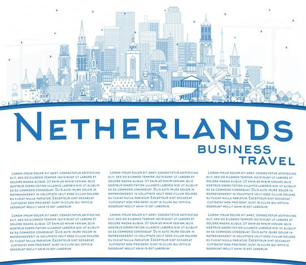 Umreißen sie die niederländische skyline mit blauen gebäuden und textfreiraum. vektor-illustration. tourismuskonzept mit historischer architektur. stadtbild mit wahrzeichen. amsterdam. rotterdam. den haag. utrecht.