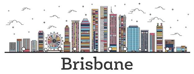 Umreißen sie die skyline der stadt brisbane australien mit farbigen gebäuden, isoliert auf weiss