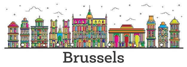 Umreißen sie die skyline der stadt brüssel belgien mit farbe gebäude, isolated on white. vektor-illustration. brüssel-stadtbild mit sehenswürdigkeiten.