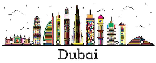 Umreißen sie die skyline der stadt dubai uae mit farbe gebäude, isolated on white. vektor-illustration. line art dubai stadtbild mit sehenswürdigkeiten.