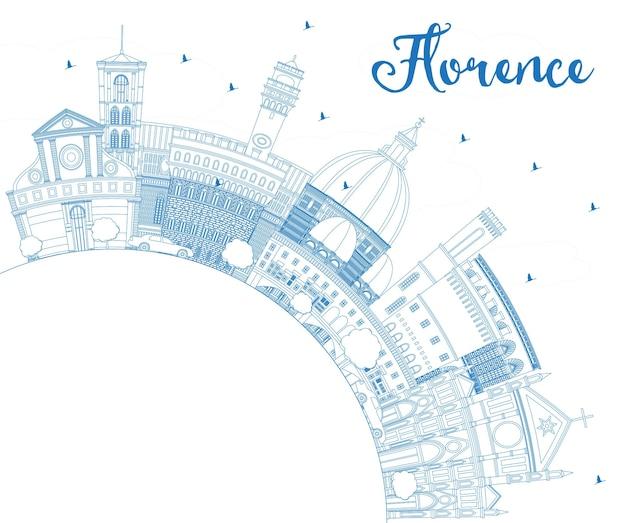 Umreißen sie die skyline der stadt florenz mit blauen gebäuden und textfreiraum. vektor-illustration. geschäftsreise- und tourismuskonzept mit moderner architektur. florenz-stadtbild mit sehenswürdigkeiten.
