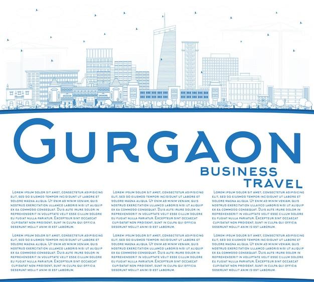 Umreißen sie die skyline der stadt gurgaon indien mit blauen gebäuden und textfreiraum. vektor-illustration. geschäftsreise- und tourismuskonzept mit moderner architektur. gurgaon-stadtbild mit sehenswürdigkeiten.