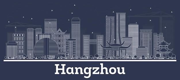 Umreißen sie die skyline der stadt hangzhou china mit weißen gebäuden