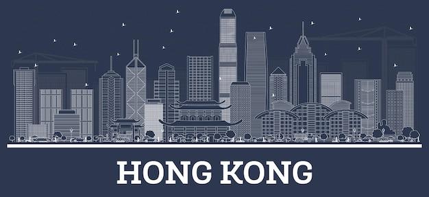 Umreißen sie die skyline der stadt hongkong mit weißen gebäuden