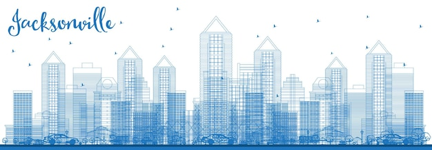 Umreißen sie die skyline der stadt jacksonville florida usa mit blauen gebäuden. vektor-illustration. geschäftsreise- und tourismuskonzept mit moderner architektur. jacksonville-stadtbild mit sehenswürdigkeiten.