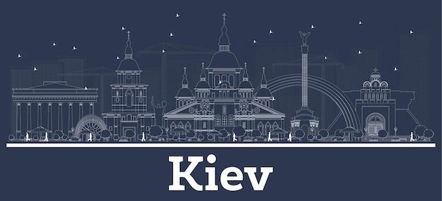 Umreißen sie die skyline der stadt kiew ukraine mit weißen gebäuden