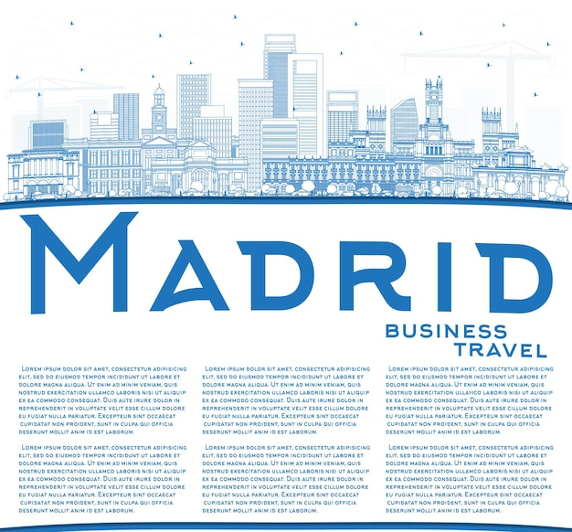 Umreißen sie die skyline der stadt madrid spanien mit blauen gebäuden und textfreiraum. vektor-illustration. geschäftsreise- und tourismuskonzept mit historischer architektur. madrid-stadtbild mit sehenswürdigkeiten.